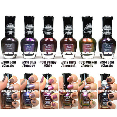 NEW KLEANCOLOR 3D CHROME NAIL POLISH LOT OF 6 LACQUER - THE CHROMATIC ERA