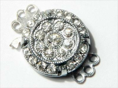 12mm 3 strand Czech vintage Deco Necklace Bracelet silver tone clasp rhinestone