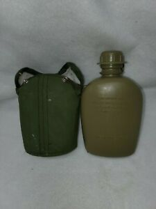 Green Plastic Canteen with Cover / Case and Clips military
