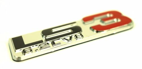 6.2L V8 ENGINE EMBLEMS BADGE CHROME SILVER RED Fits All V8 cars and trucks