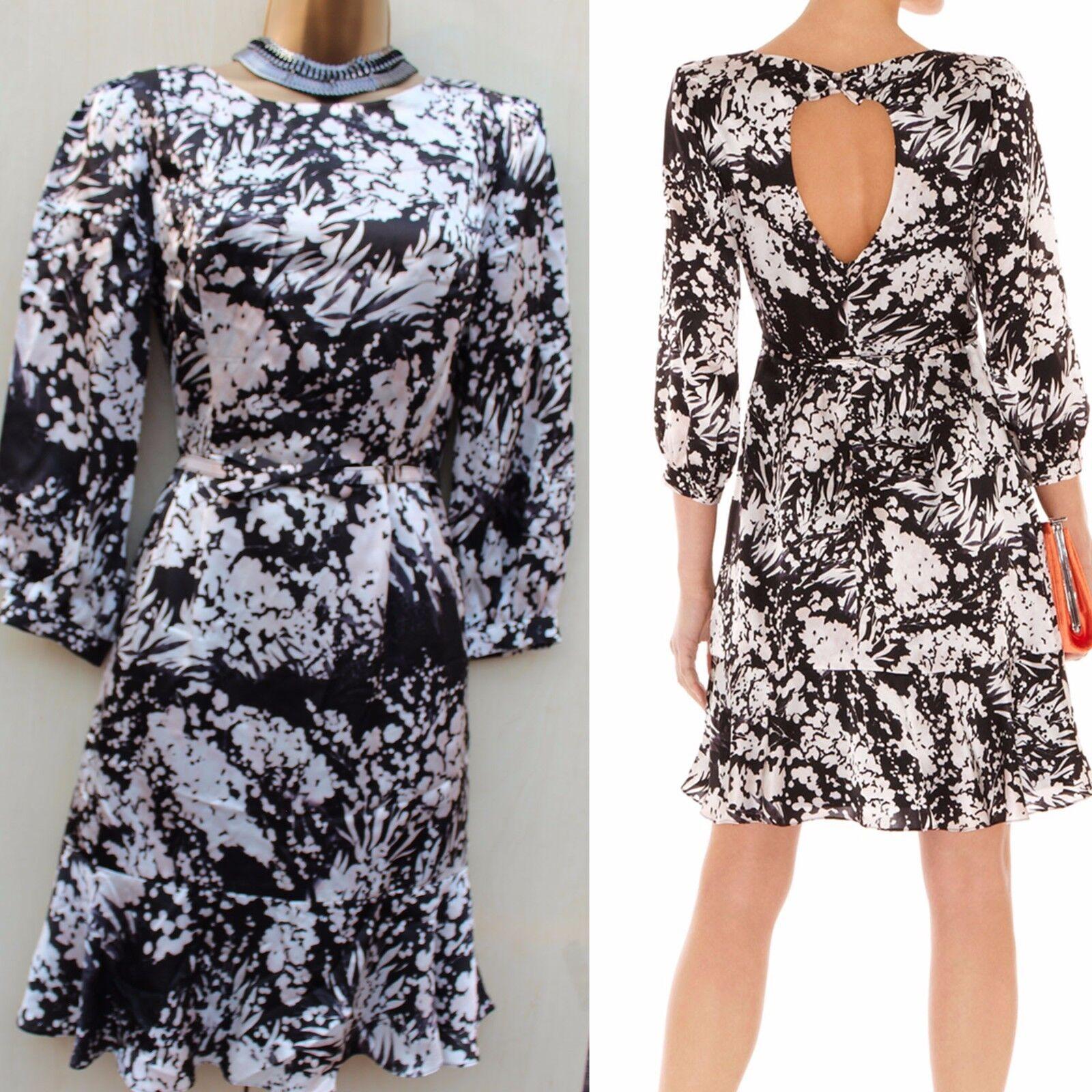 KAREN MILLEN schwarz Ivory Soft Silk Bow Keyhole Floral Flare Summer Dress SZ-10