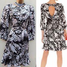 KAREN MILLEN Black Ivory Soft Silk Bow Keyhole Floral Flare Summer Dress SZ-10