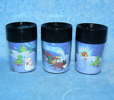 STARBUCKS COFFEE 8 OZ 2001 SET OF 3 CHRISTMAS THERMO-SERV MINI TRAVEL TUMBLERS