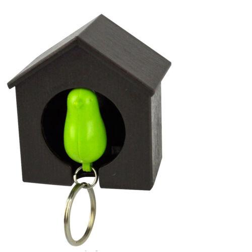 Single Black Wood House Sparrow Bird Key Ring Holder Whistle Safe Gift SOS NEW