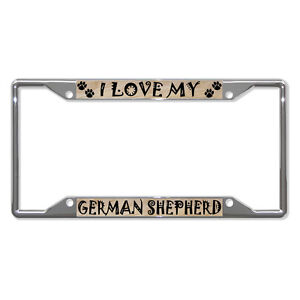 GERMAN-SHEPHERD-Dog-License-Plate-Frame-Tag-Holder-Four-Holes