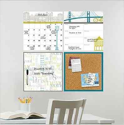 Wall Calendar 4 Pc Travel Design Cork Board Decals Stick On Organizer Home Dorm