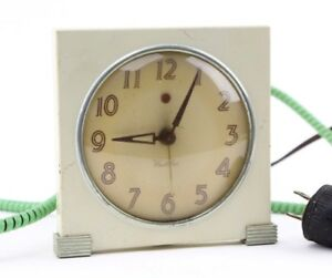 Vintage Art Deco Westclox Electric Alarm Clock RED DOT White Table top Clock
