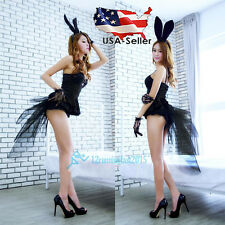 Adult Girl Sexy Black Rabbit Bunny Halloween Party Cosplay Costume Fancy Dress