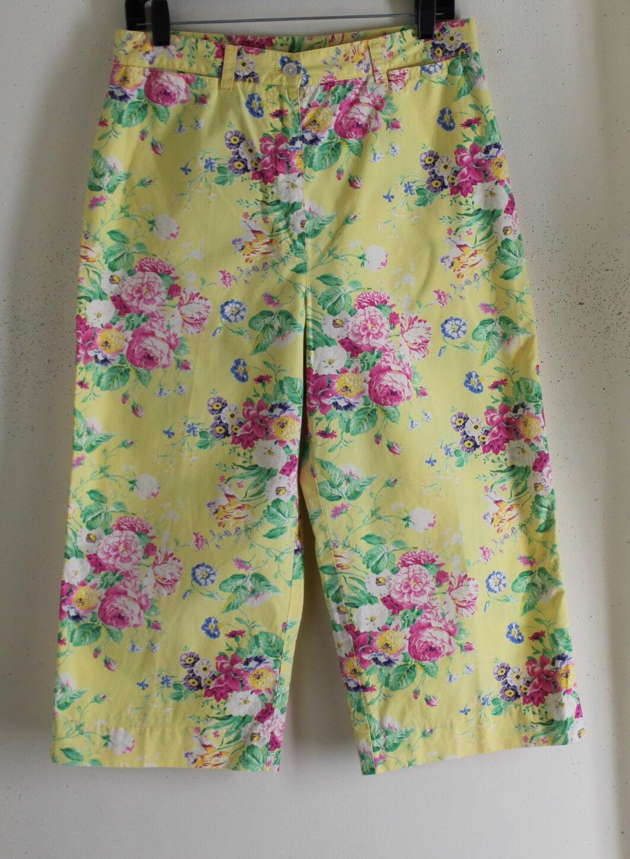 Ralph Lauren -12 Peony Art-Wear Gelb Floral Cotton Garden Party Capris Pants