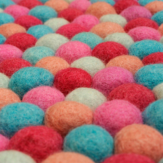 Handmade Pom Pom Felt Balls Nursery Rug Dia Living room Rugs Home Decor office