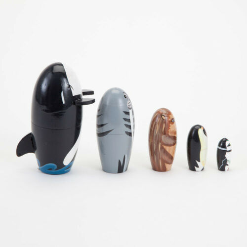 5Pcs//Set Wooden Whale Penguin Animal Matryoshka Nesting Dolls Figurines Kids Toy