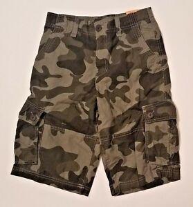 URBAN PIPELINE Boys Camo Rip stop Messenger Cargo Shorts Size 14 16 Adjustable