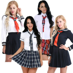 cb4fd31ec04df7 Image is loading Cosplay-Women-Schoolgirls-Uniform-Japanese-Student-Plaid- Skirts-