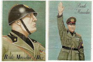 2-WW2-FASCIST-FOOD-RATION-SHEETS-w-BOLD-MUSSOLINI-PORTRAITS-on-BACK-RETAIL-150