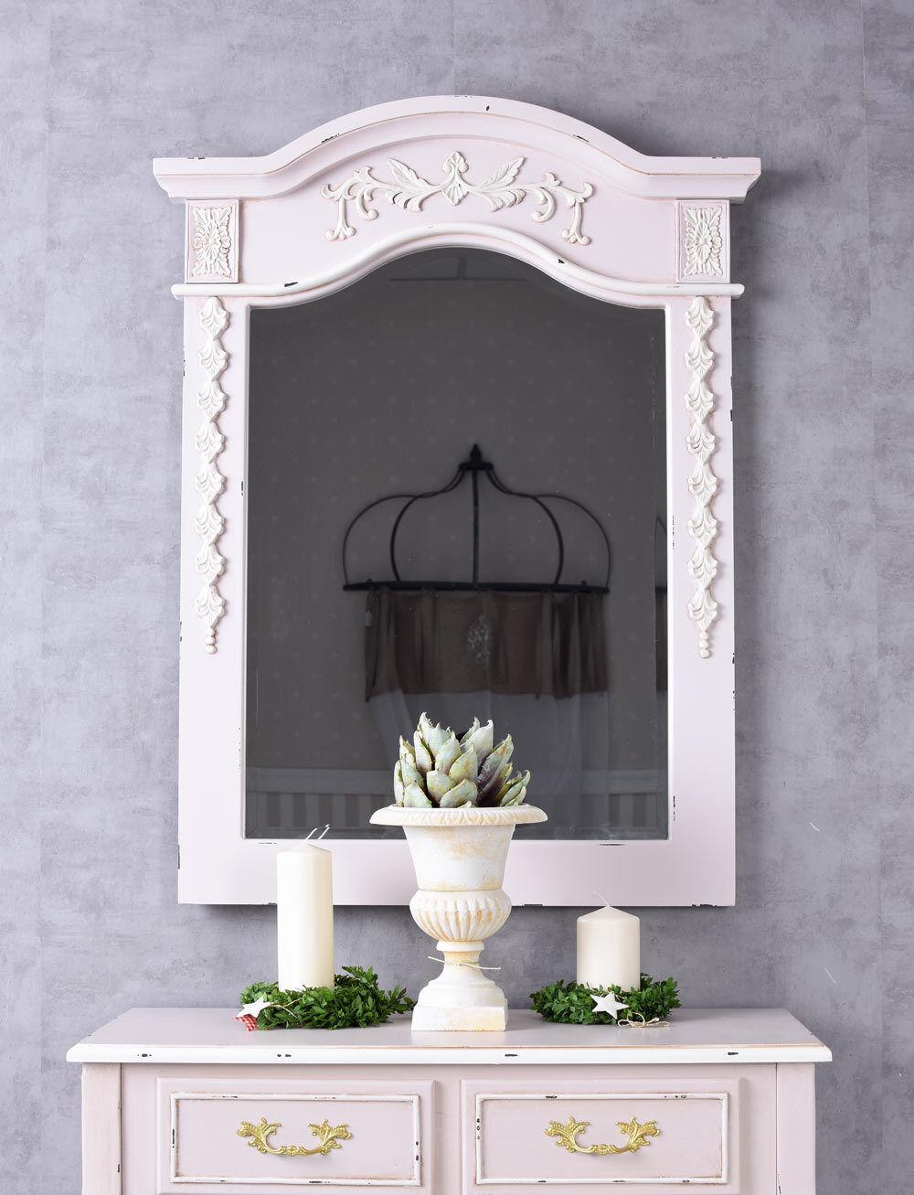 Miroir Shabby Mural Style Maison de Campagne Sale Bain Console Rose Ancien