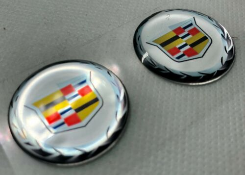 2 pcs Cadillac logo 3D Domed Sticker 30 mm