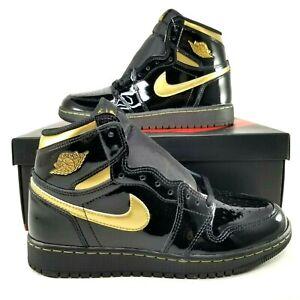 Nike Air Jordan 1 Retro High OG GS Black Gold Shoes Size 5.5Y Womens SZ 7 Patent