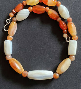 Idar Oberstein old carnelian trade beads with ancient arrow pendant collectible African trade handmade necklace.