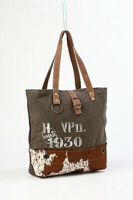 Myra Bags Vintage Style 1930 Canvas Tote Bag With Hairon Fur Leather Strap For Sale Online Ebay At myra, we provide a wide range of canvas, leather & hair on products. myra bags vintage style 1930 canvas tote bag with hairon fur leather strap