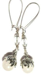 Very Long Silver White Earrings Natural Agate Gemstone Bead Drop Dangle Gypsy
