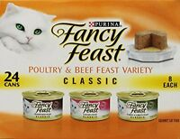 Fancy Feast Wet Cat Food, Classic, Poultry And Beef Feast Variety Pack, 3-ounce