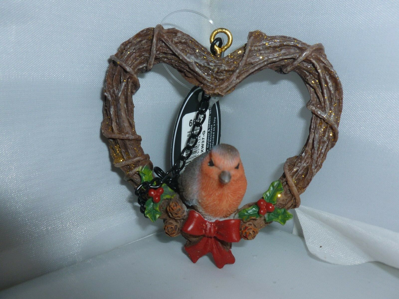 Robin Nuovo di zecca da appendere RATTAN corona Natale decorazione giardino
