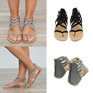 34cbe3cdef2 New Womens Low Flat Heel Zip Back Gladiator Sandals Criss Cross Flip ...