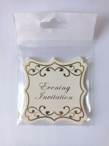 Evening Invitation  Wedding Gold Ivory sticker embellishment