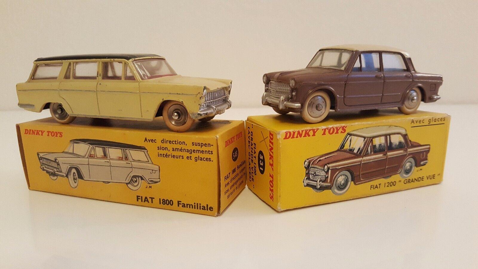 Dinky Toys 531 & 548 548 - Fiat 1200 Grande Vue & 1800 Familiale en boîte d'origine