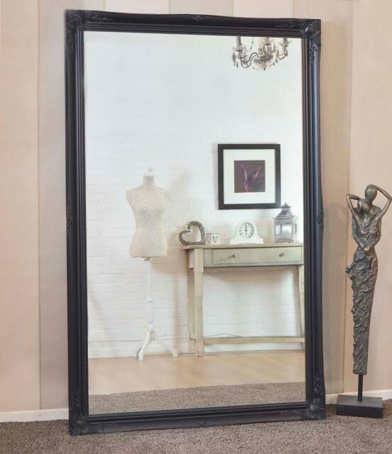 Large Full Length Leaner Long Black, Extra Large Wall Mounted Full Length Mirror