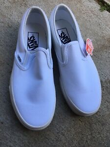 **Vans Classic Slip On Comfort Shoes, Men's Size 5, Women's 6.5, White NEW