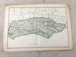 Mappa-Antica-Sussex-Contea-Inghilterra-East-Occidente-19th-Secolo-Mano-Colorato
