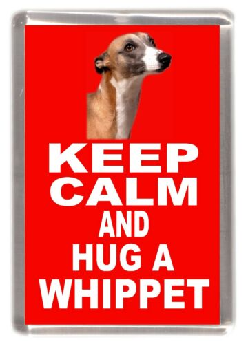 "Whippet Dog Fridge Magnet /""KEEP CALM AND HUG A WHIPPET/"" by Starprint"