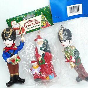Christmas-decoration-figure-doll-ornament-Toy-soldier-Santa-Claus-Vintage