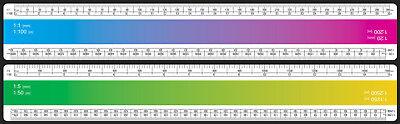 M 1:1//5//20//50//100//200//1250//2500 Reduktionsmaßstab 30 cm Maßstab Lineal flach