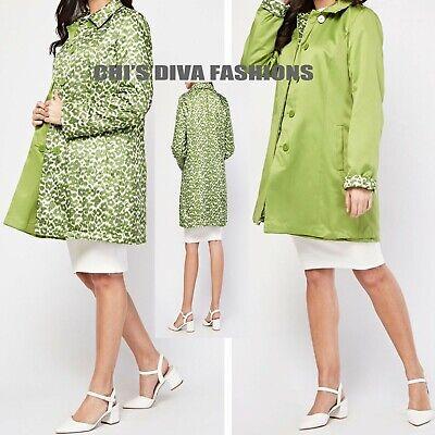 Beautiful Brushed Wool Blend Leopard Print Long Coat Jacket Size UK  8,10