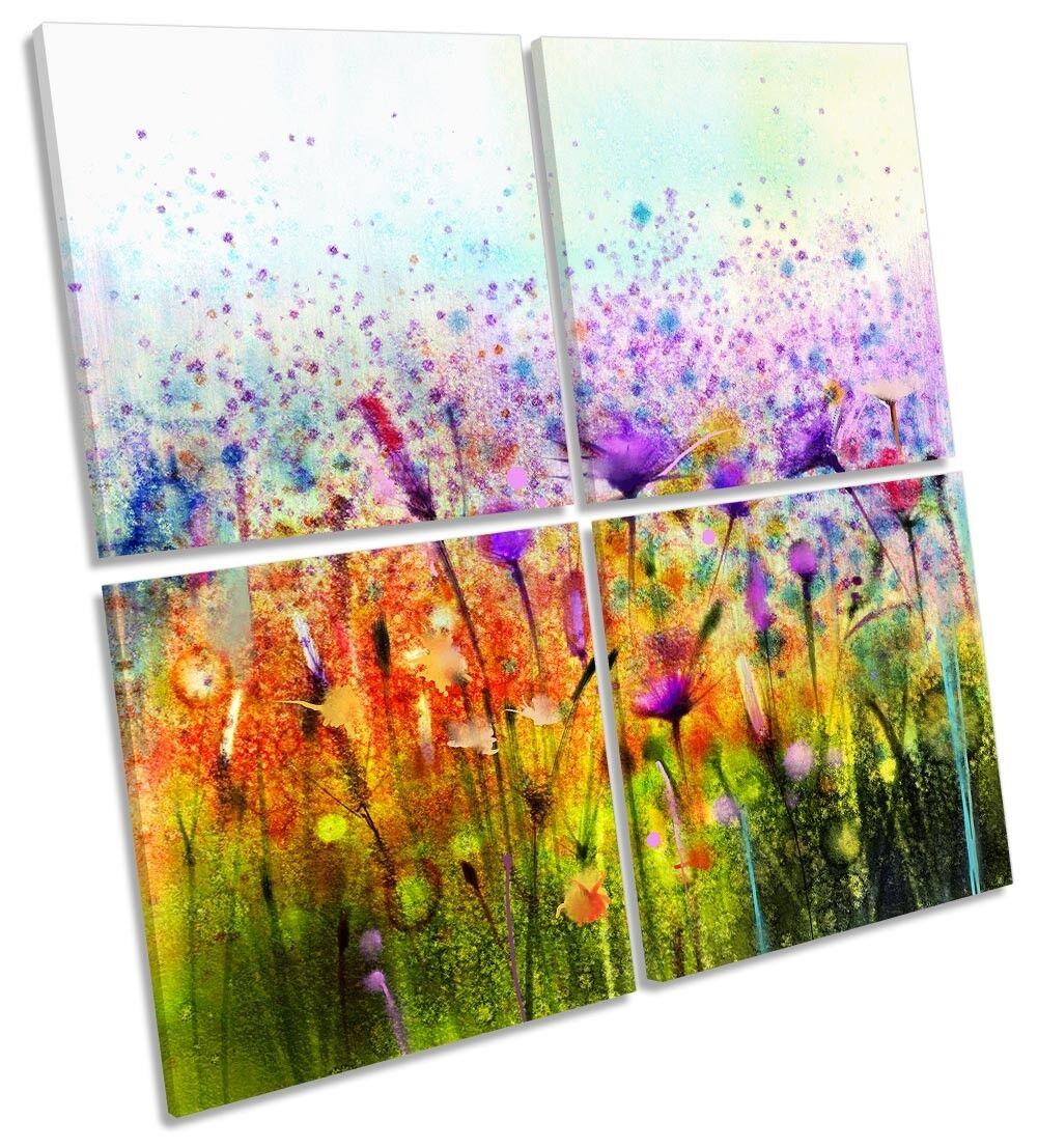 I fiori tropicali floreale Multi a muro opera d'arte art SQUARE