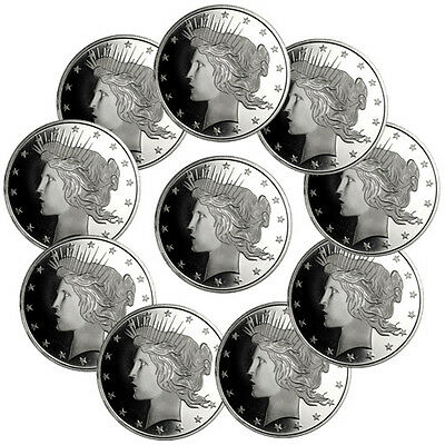 Lot of 10 - Peace Silver Dollar Design 1 Troy Ounce .999 Silver Rounds SKU34194