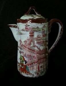 Antique Japanese hand decorated porcelain coffee pot
