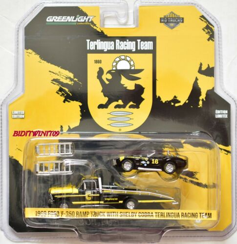 GREENLIGHT 1969 FORD F-350 RAMP TRUCK WITH SHELBY COBRA TERLINGUA RACING TEAM