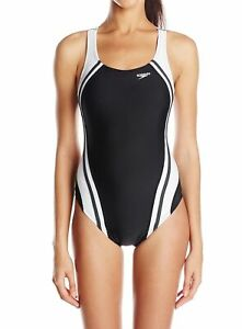 Speedo-Women-Black-White-Size-10-Splice-Powerflex-Eco-One-Piece-Swimsuit-78-292