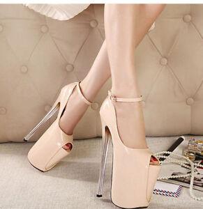 ee7b54039f01 Women Super High Heels Peep Toe Stilettos High Platform Ankle Strap ...