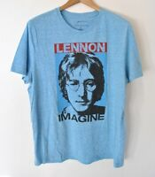 John Lennon Distressed Graphic T-shirt Blue Size S-2xl