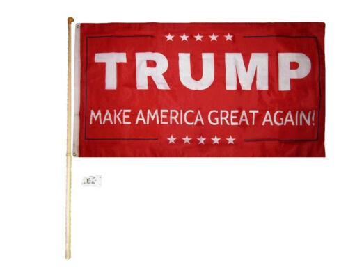 RUF 5/' Wood Flag Pole Kit Wall Bracket 3x5 Trump Make America Great Again Red