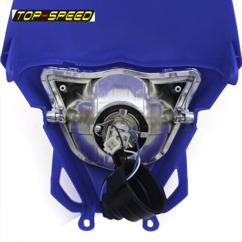 Motorcycle Bike Front Headlight Dual Hi//Lo Light Blue Fairing For Enduro Yamaha