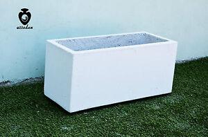 Fioriera Vaso Rettangolare In Cemento Bianco Fioriera H 30 Ebay