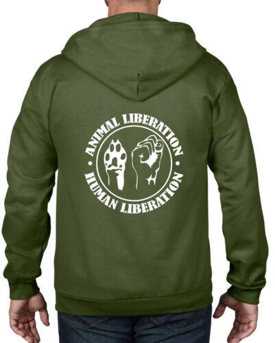 ANIMAL LIBERATION HUMAN LIBERATION FULL ZIP HOODIE Vegetarian Vegan T Shirt