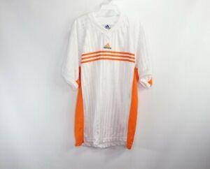 Vtg 90s Adidas Mens Medium Spell Out Striped Short Sleeve Soccer ...