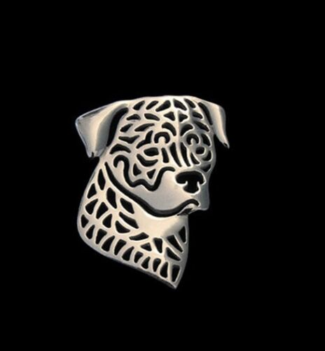 Fashion Jewellery Silver Plated Stud Back Rottweiler Brooch or Pin