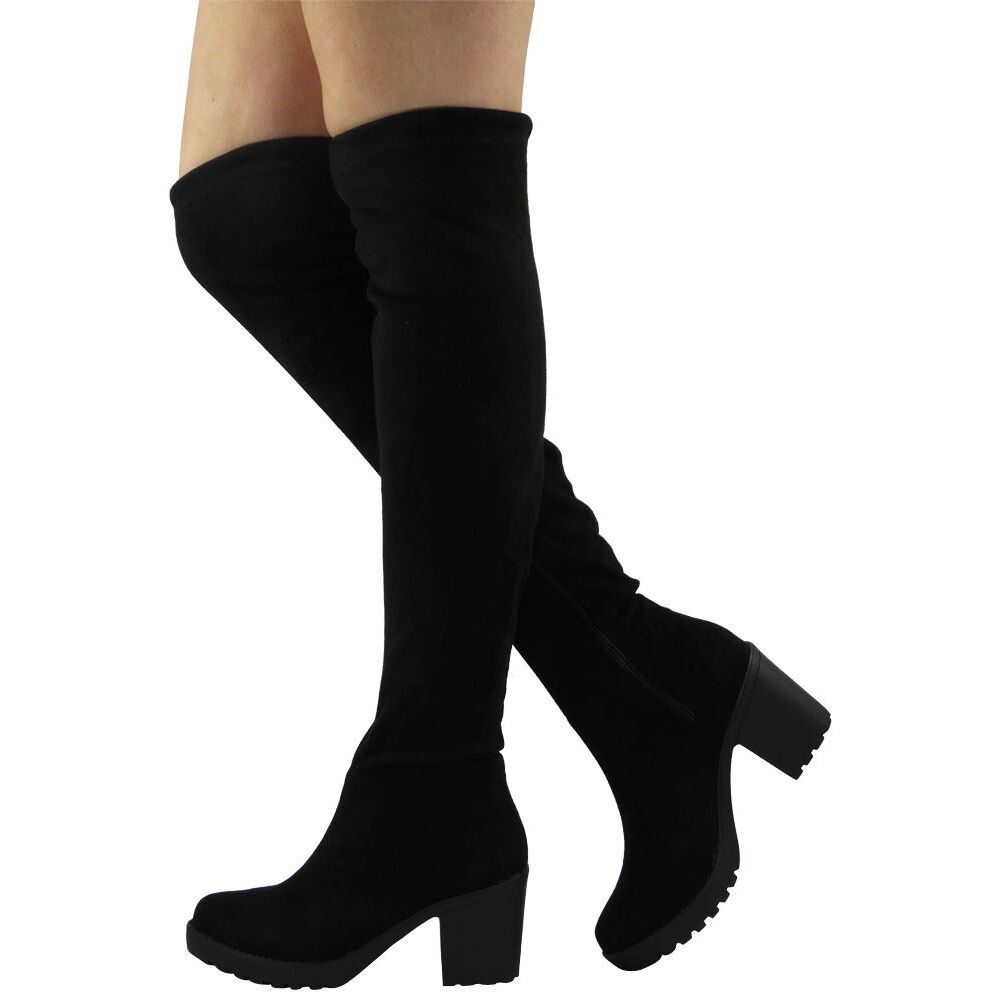 New Womens Ladies Thigh High Over The Knee Long Cuban Mid Heel Boots Shoes Size